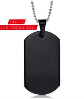 Black Tag Necklace Stainless With Free Costume Text
