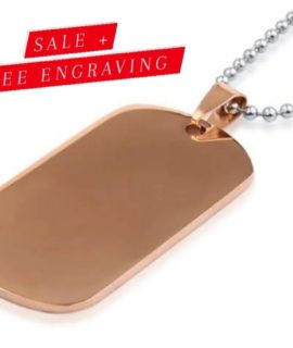 Gold Tag Necklace Stainless With Free Costume Text
