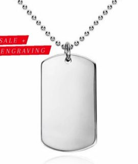 Silver Tag Necklace Stainless With Free Costume Text