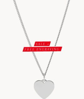 Heart Pendant Ladies Necklace Stainless With Free Costume Text