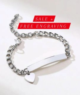 Personalized Heart Id Ladies Bracelets Stainless With Free Costume Text