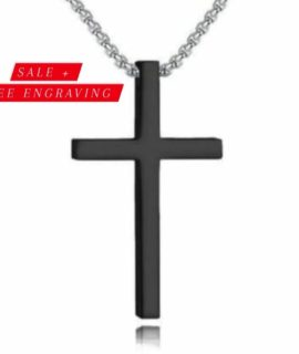 STAINLESS BLACK CROSS NECKLACE WITH FREE COSTUME TEXT