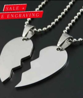 Couples Stainless 2 Necklace With Free Costume Text