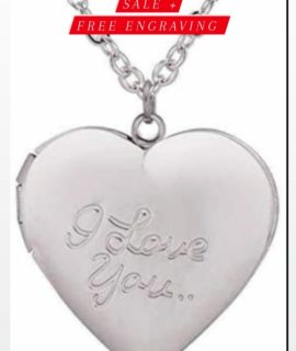 Looked Heart Ladies Necklace Stainless With Free Costume Text