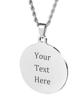 Stainless Necklace Round Tag With Free Costume Text