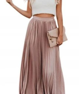 Golden Creased Party And Dinner Skirt