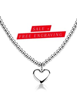 Heart Pendant Ladies Necklace With Free Costume Text Stainless Steel